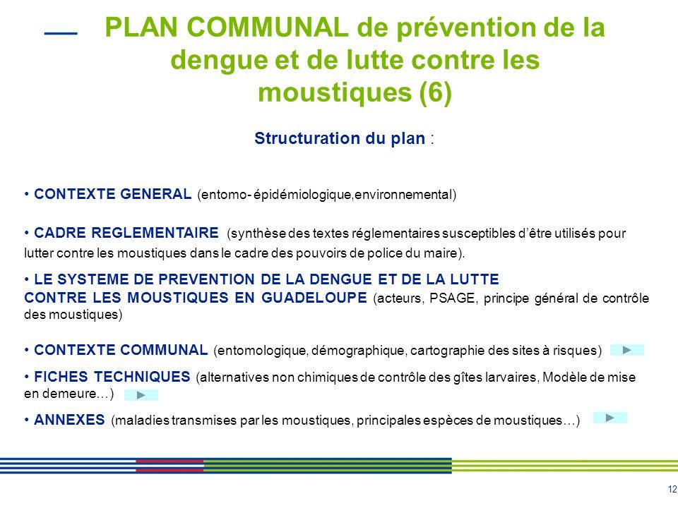 11 PLAN COMMUNAL de prévention de la dengue et de lutte contre les moustiques (5) 2/ La cellule opérationnelle Met en œuvre les décisions de la cellul
