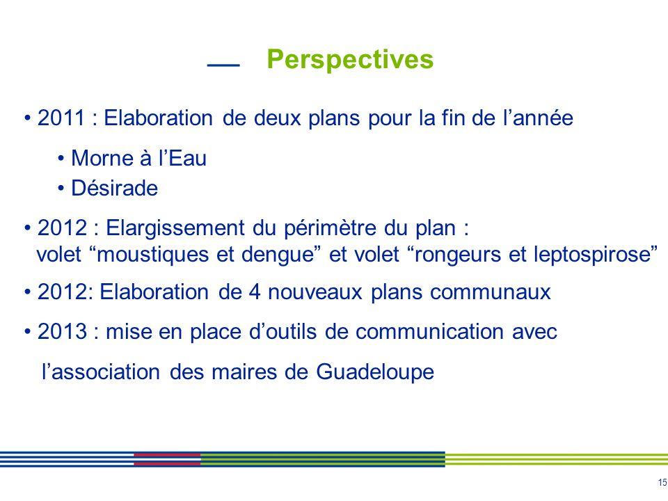 14 Bilan 2010 Ville du Moule Points forts : - Forte implication de la municipalité - 1 référent moustique - 1 agent mobilisé en mairie - Renfort 6 VSC