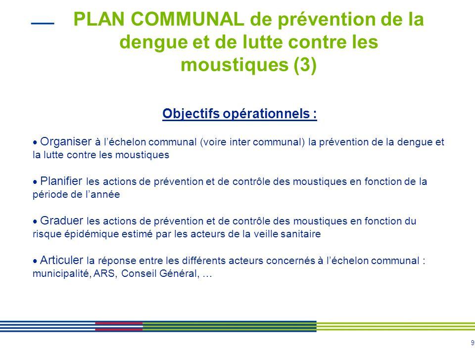 8 PLAN COMMUNAL de prévention de la dengue et de lutte contre les moustiques (2) Objectifs généraux Limiter la survenue de cas de dengue, lextension d