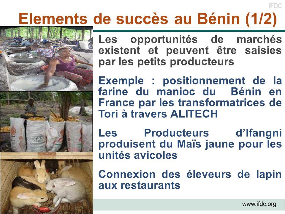 IFDC Elements de succès au Bénin (1/2) Les opportunités de marchés existent et peuvent être saisies par les petits producteurs Exemple : positionnemen