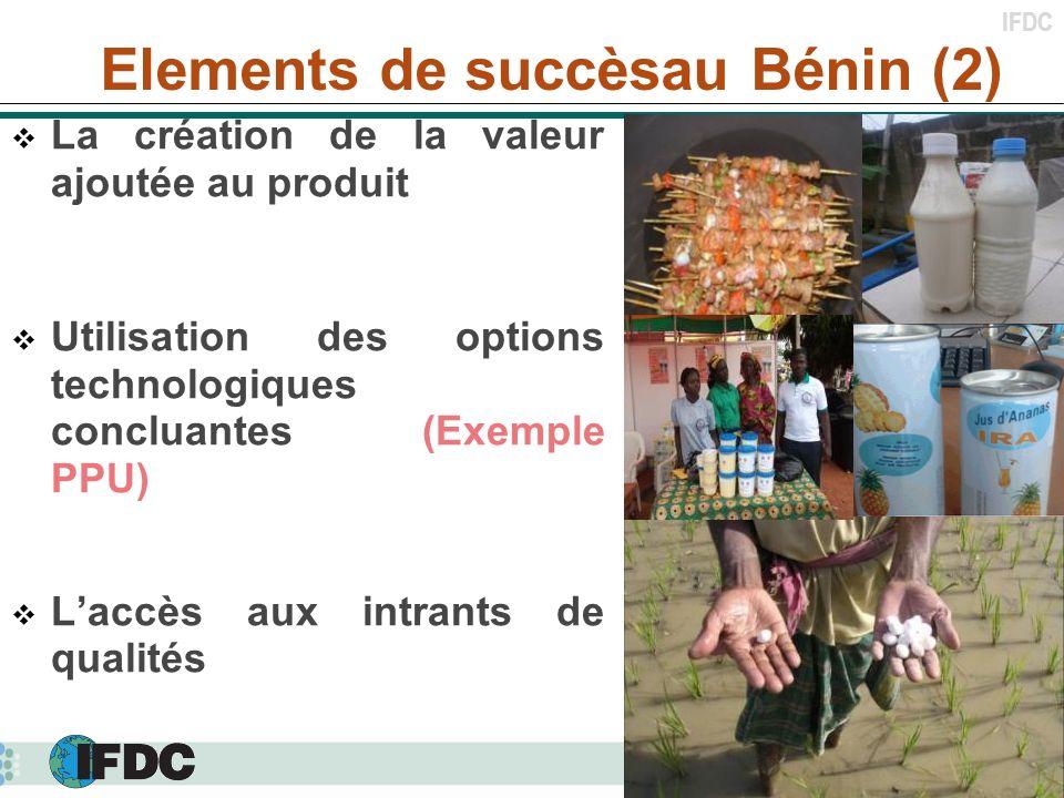 IFDC La création de la valeur ajoutée au produit Utilisation des options technologiques concluantes (Exemple PPU) Laccès aux intrants de qualités Elem