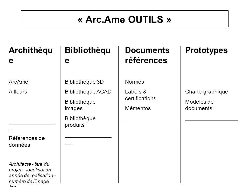 « Arc.Ame OUTILS » Archithèqu e ArcAme Ailleurs _______________ _ Références de données Architecte - titre du projet – localisation - année de réalisa