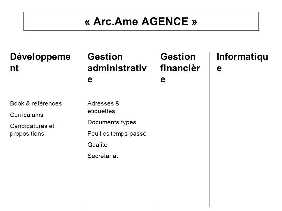 « Arc.Ame AGENCE » Développeme nt Book & références Curriculums Candidatures et propositions Gestion administrativ e Adresses & étiquettes Documents t