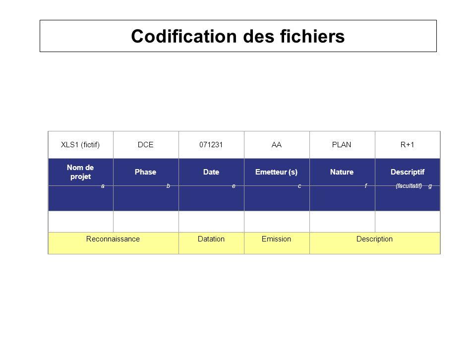 Codification des fichiers XLS1 (fictif)DCE071231AAPLANR+1 Nom de projet PhaseDateEmetteur (s)NatureDescriptif abecf(facultatif) g ReconnaissanceDatati