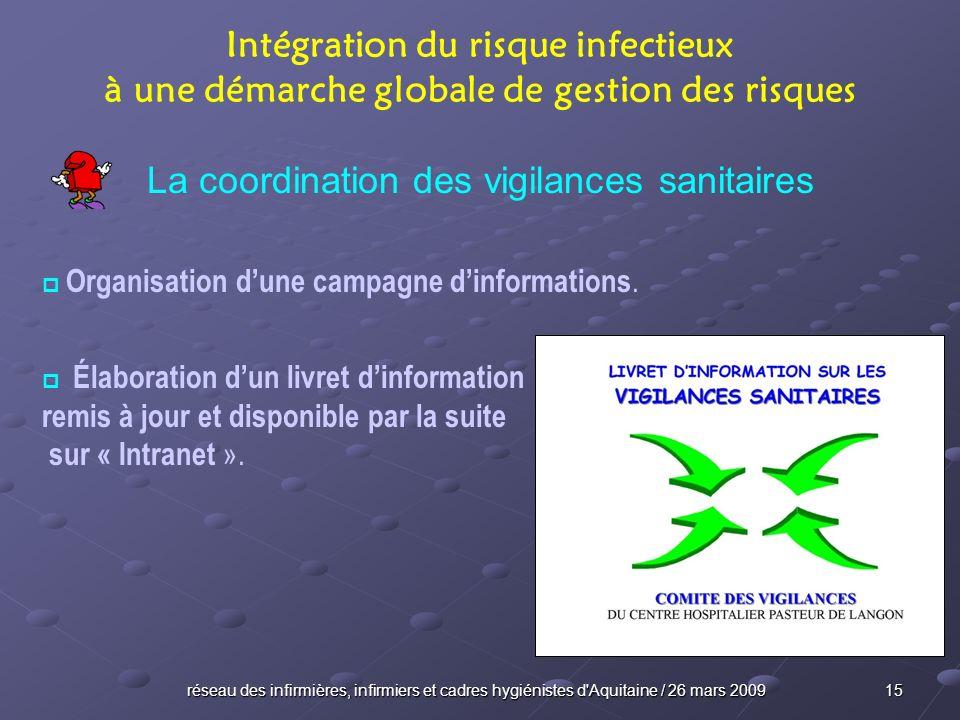 réseau des infirmières, infirmiers et cadres hygiénistes d'Aquitaine / 26 mars 2009 15 Intégration du risque infectieux à une démarche globale de gest