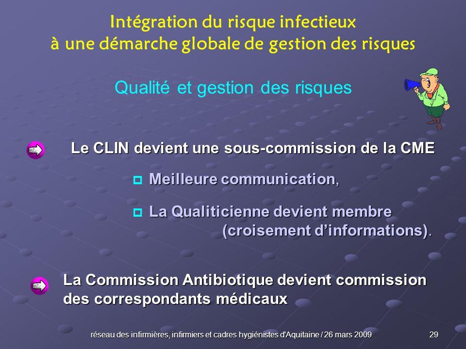 réseau des infirmières, infirmiers et cadres hygiénistes d'Aquitaine / 26 mars 2009 29 Intégration du risque infectieux à une démarche globale de gest