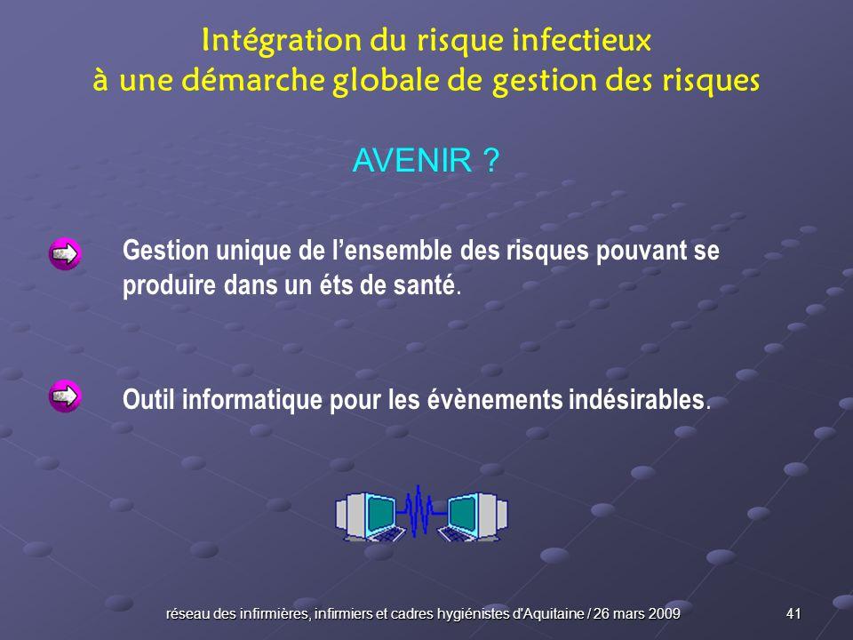 réseau des infirmières, infirmiers et cadres hygiénistes d'Aquitaine / 26 mars 2009 41 Intégration du risque infectieux à une démarche globale de gest