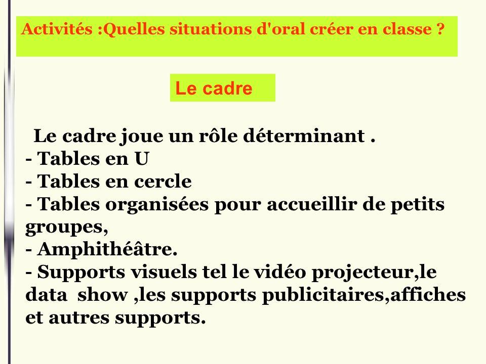 Activités :Quelles situations d'oral créer en classe ? Le cadre joue un rôle déterminant. - Tables en U - Tables en cercle - Tables organisées pour ac