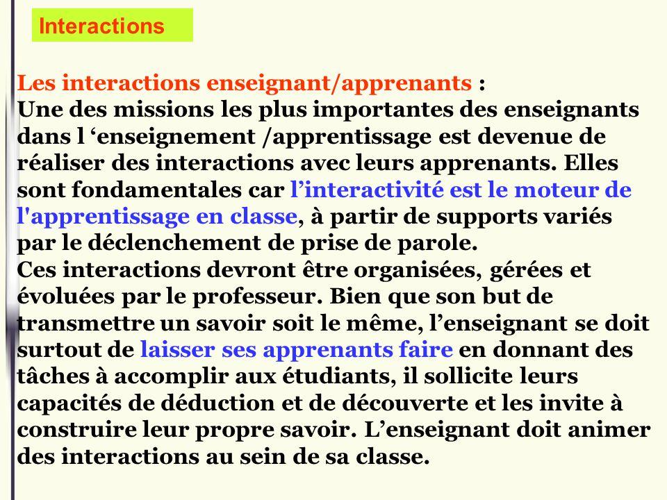 Les interactions enseignant/apprenants : Une des missions les plus importantes des enseignants dans l enseignement /apprentissage est devenue de réali