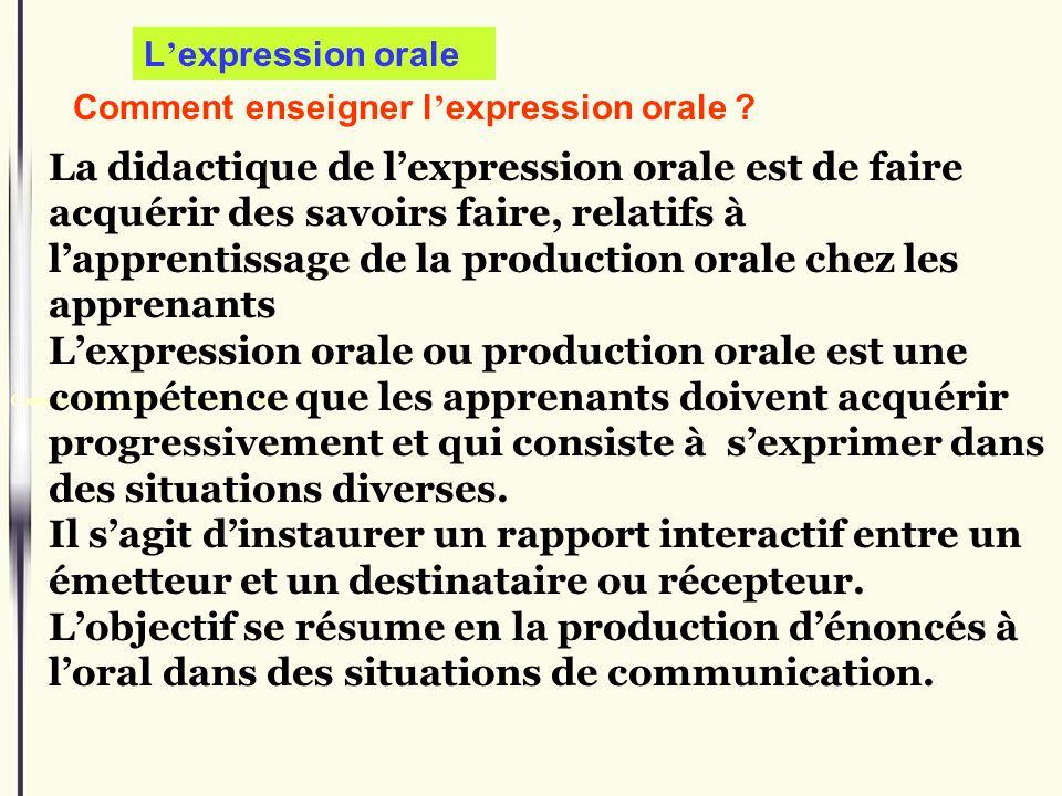 Comment enseigner l expression orale : Comment enseigner l expression orale ? La didactique de lexpression orale est de faire acquérir des savoirs fai