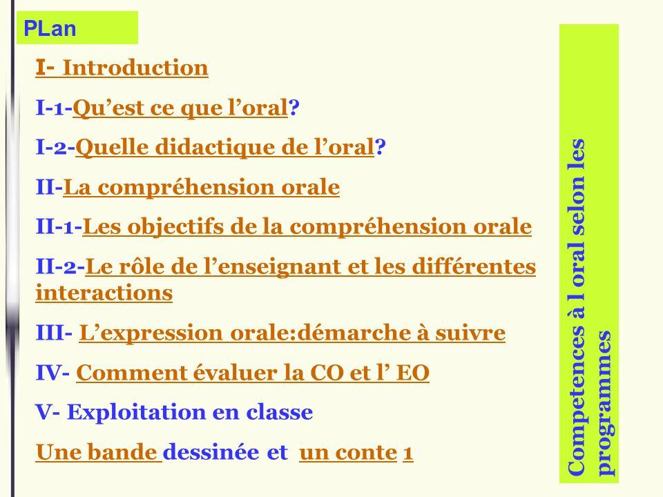 PLan I- Introduction I-1-Quest ce que loral?Quest ce que loral I-2-Quelle didactique de loral?Quelle didactique de loral II-La compréhension oraleLa c