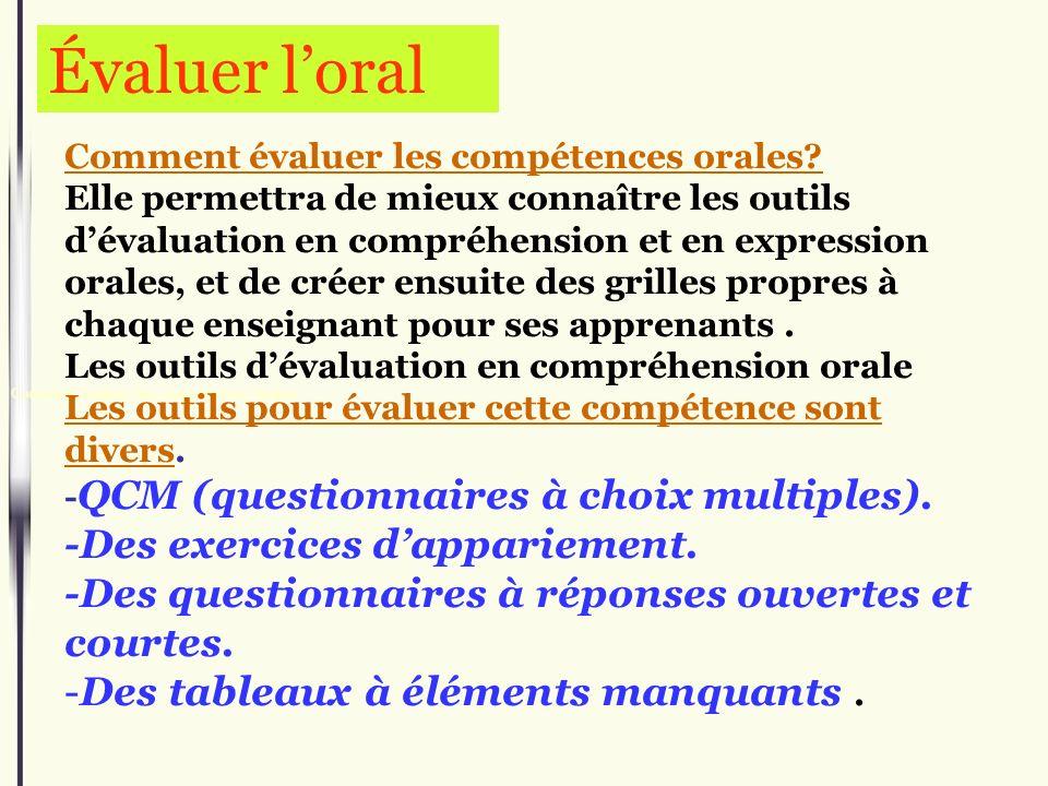 Comment é valuer les comp é tences orales Comment évaluer les compétences orales? Elle permettra de mieux connaître les outils dévaluation en compréhe