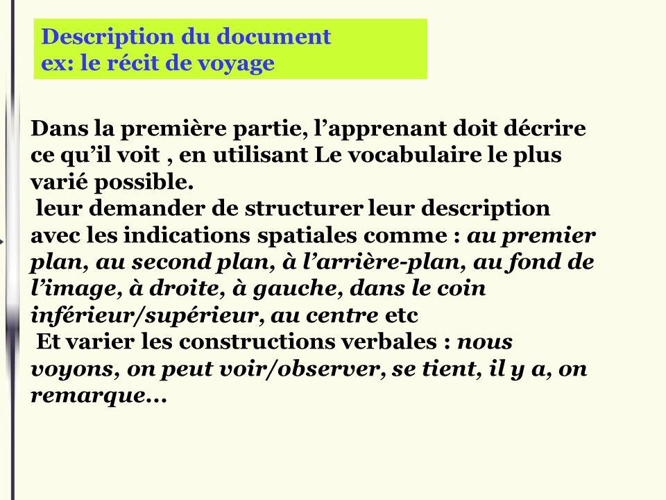 Description du document ex: le récit de voyage Dans la première partie, lapprenant doit décrire ce quil voit, en utilisant Le vocabulaire le plus vari