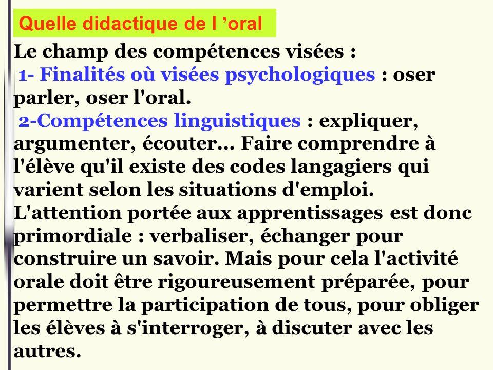 Le champ des compétences visées : 1- Finalités où visées psychologiques : oser parler, oser l'oral. 2-Compétences linguistiques : expliquer, argumente