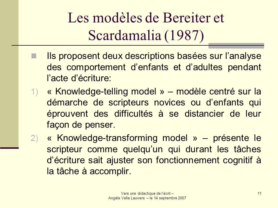 Vers une didactique de lécrit – Angèle Vella Lauwers – le 14 septembre 2007 11 Les modèles de Bereiter et Scardamalia (1987) Ils proposent deux descri