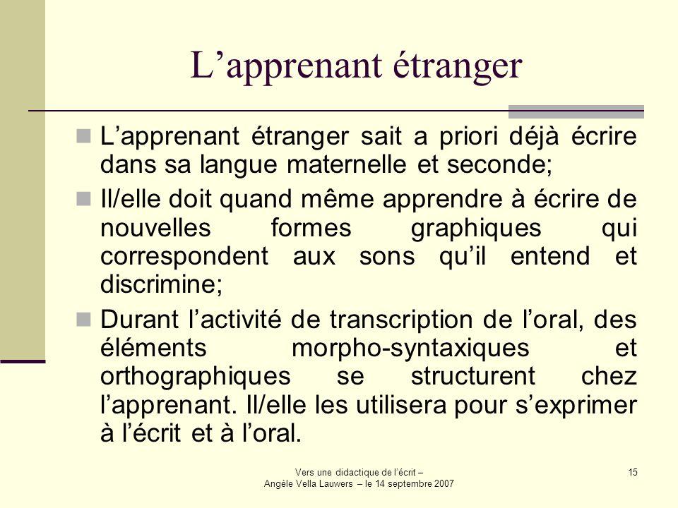 Vers une didactique de lécrit – Angèle Vella Lauwers – le 14 septembre 2007 15 Lapprenant étranger Lapprenant étranger sait a priori déjà écrire dans