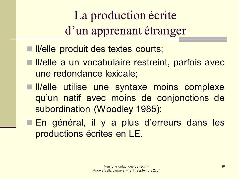 Vers une didactique de lécrit – Angèle Vella Lauwers – le 14 septembre 2007 16 La production écrite dun apprenant étranger Il/elle produit des textes