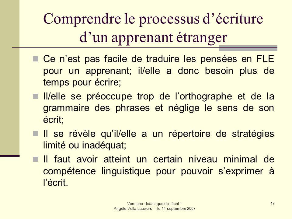 Vers une didactique de lécrit – Angèle Vella Lauwers – le 14 septembre 2007 17 Comprendre le processus décriture dun apprenant étranger Ce nest pas fa