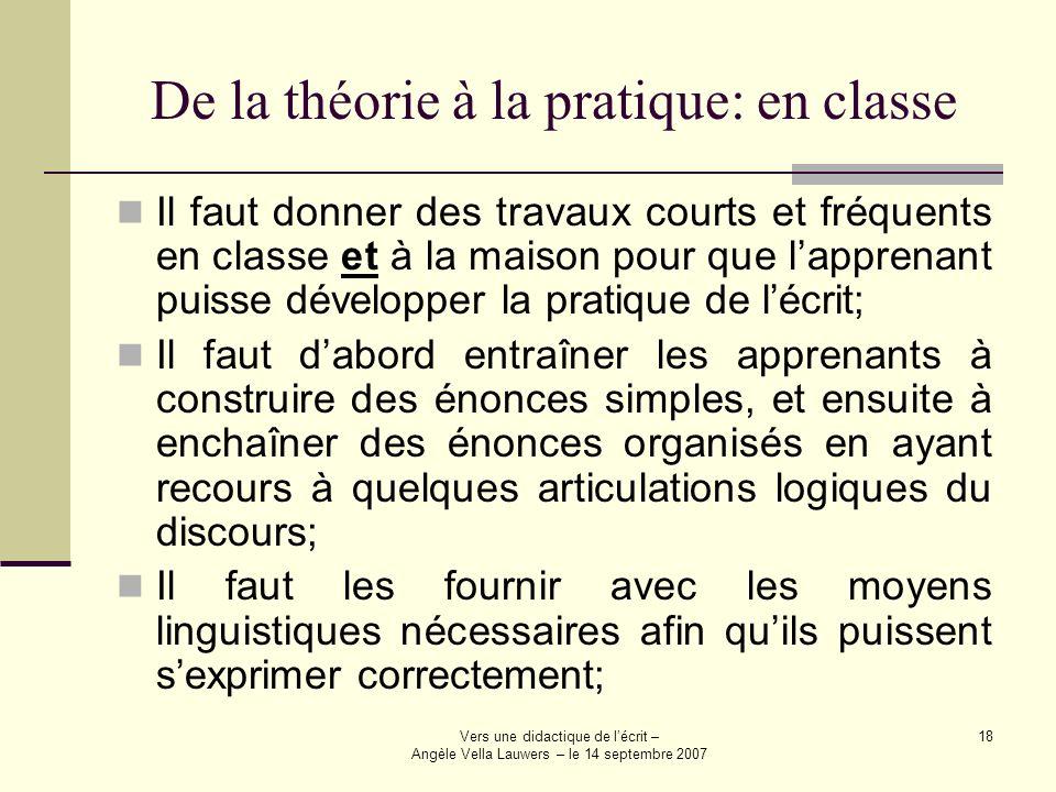 Vers une didactique de lécrit – Angèle Vella Lauwers – le 14 septembre 2007 18 De la théorie à la pratique: en classe Il faut donner des travaux court