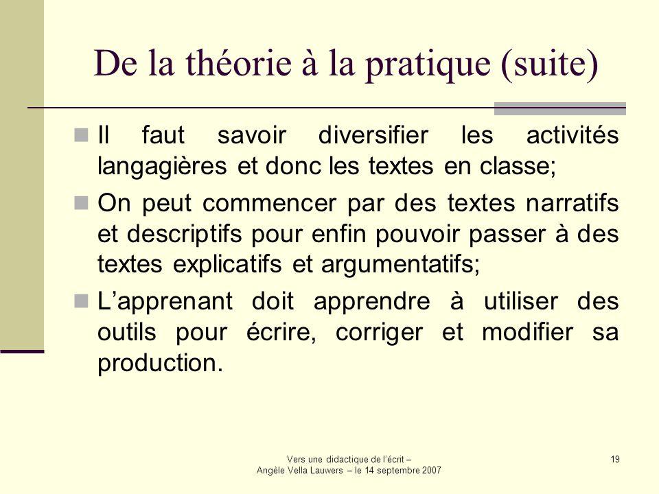 Vers une didactique de lécrit – Angèle Vella Lauwers – le 14 septembre 2007 19 De la théorie à la pratique (suite) Il faut savoir diversifier les acti