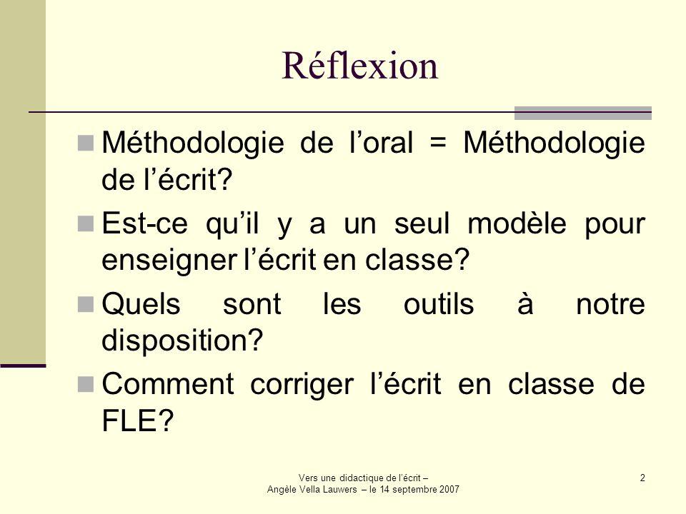 Vers une didactique de lécrit – Angèle Vella Lauwers – le 14 septembre 2007 2 Réflexion Méthodologie de loral = Méthodologie de lécrit? Est-ce quil y