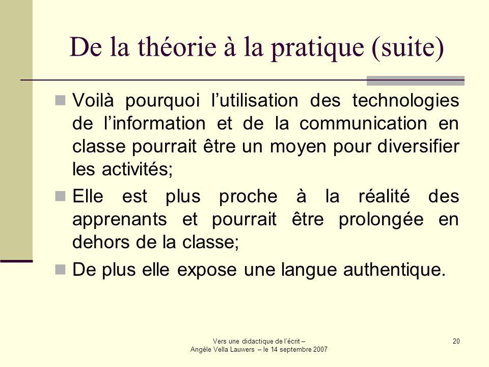 Vers une didactique de lécrit – Angèle Vella Lauwers – le 14 septembre 2007 20 De la théorie à la pratique (suite) Voilà pourquoi lutilisation des tec