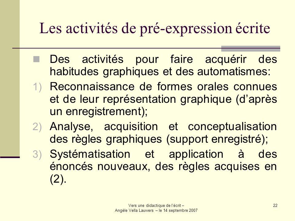 Vers une didactique de lécrit – Angèle Vella Lauwers – le 14 septembre 2007 22 Les activités de pré-expression écrite Des activités pour faire acquéri