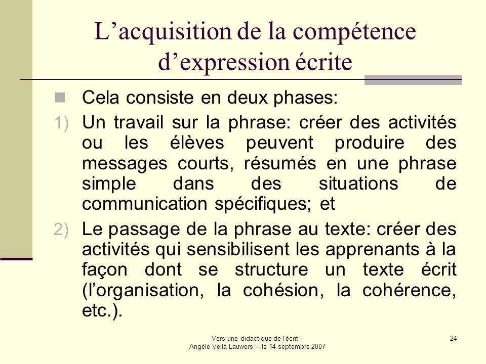 Vers une didactique de lécrit – Angèle Vella Lauwers – le 14 septembre 2007 24 Lacquisition de la compétence dexpression écrite Cela consiste en deux