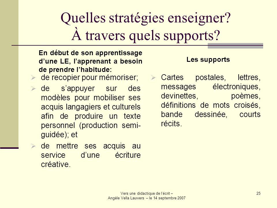 Vers une didactique de lécrit – Angèle Vella Lauwers – le 14 septembre 2007 25 Quelles stratégies enseigner? À travers quels supports? de recopier pou