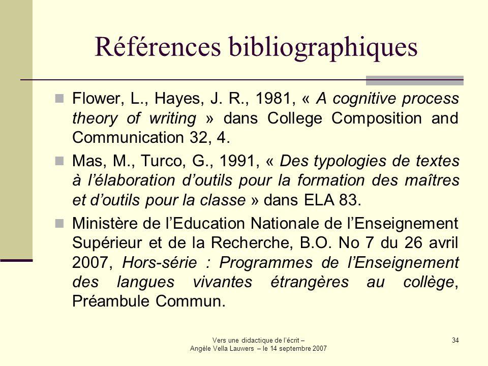 Vers une didactique de lécrit – Angèle Vella Lauwers – le 14 septembre 2007 34 Références bibliographiques Flower, L., Hayes, J. R., 1981, « A cogniti