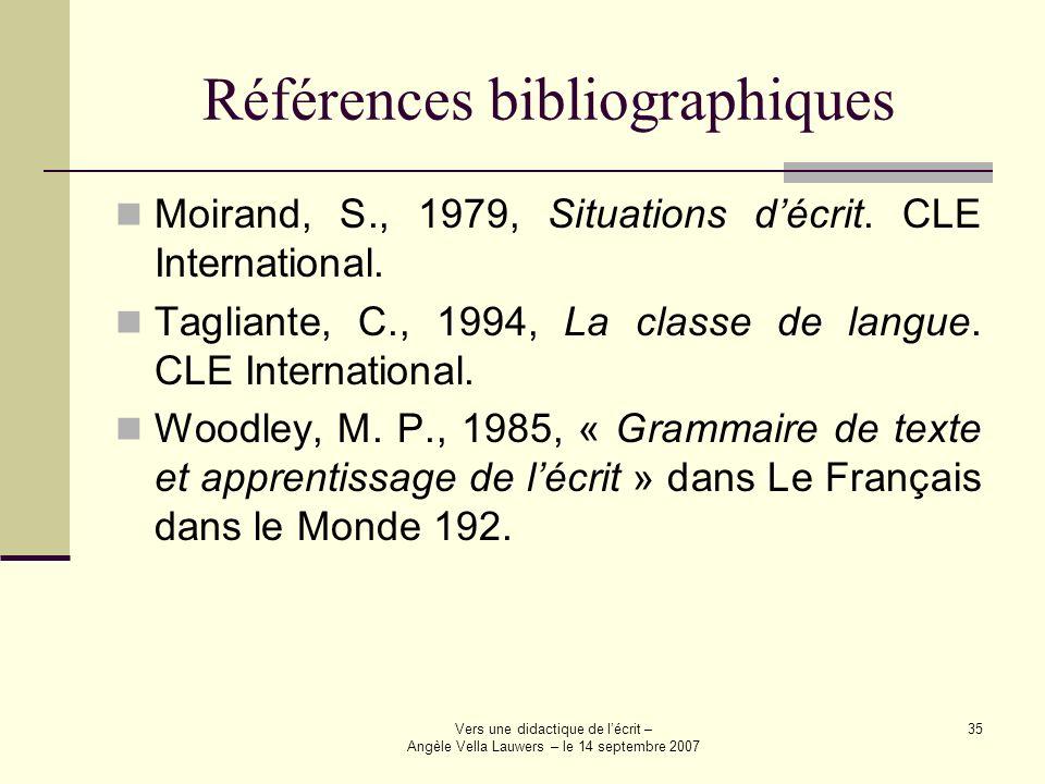 Vers une didactique de lécrit – Angèle Vella Lauwers – le 14 septembre 2007 35 Références bibliographiques Moirand, S., 1979, Situations décrit. CLE I