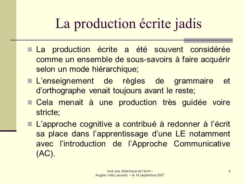 Vers une didactique de lécrit – Angèle Vella Lauwers – le 14 septembre 2007 4 La production écrite jadis La production écrite a été souvent considérée