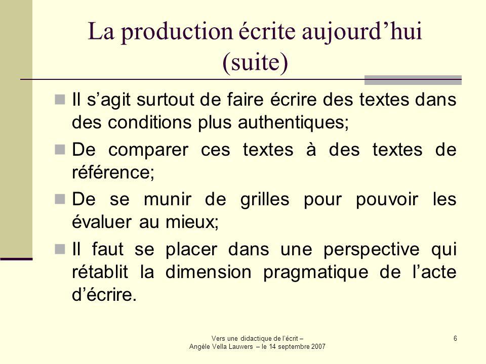Vers une didactique de lécrit – Angèle Vella Lauwers – le 14 septembre 2007 7 Les modèles de production écrite Il existe plusieurs théories relatives à la production écrite; Nous pouvons regrouper ces modèles en deux catégories: celles qui sont linéaires et celles qui sont récursifs, non linéaires.