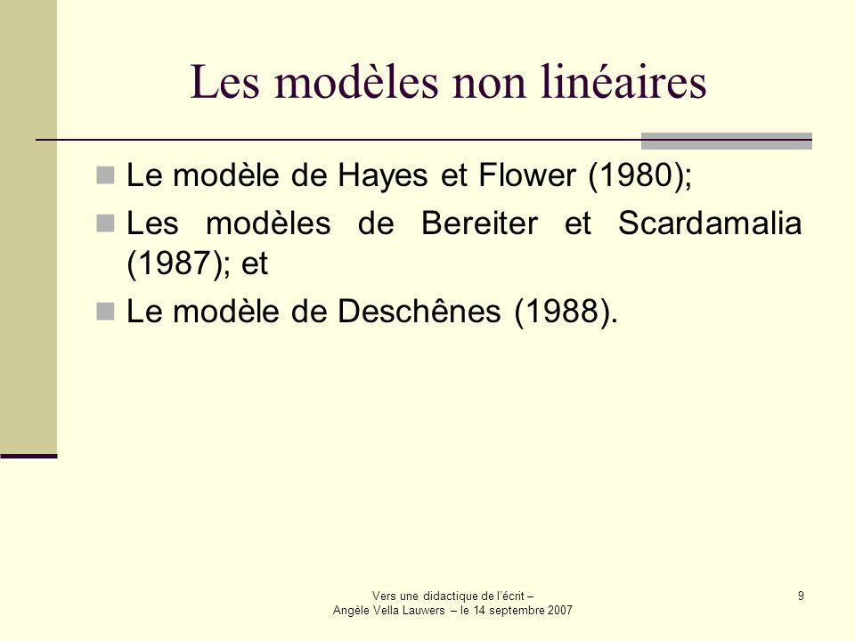 Vers une didactique de lécrit – Angèle Vella Lauwers – le 14 septembre 2007 9 Les modèles non linéaires Le modèle de Hayes et Flower (1980); Les modèl