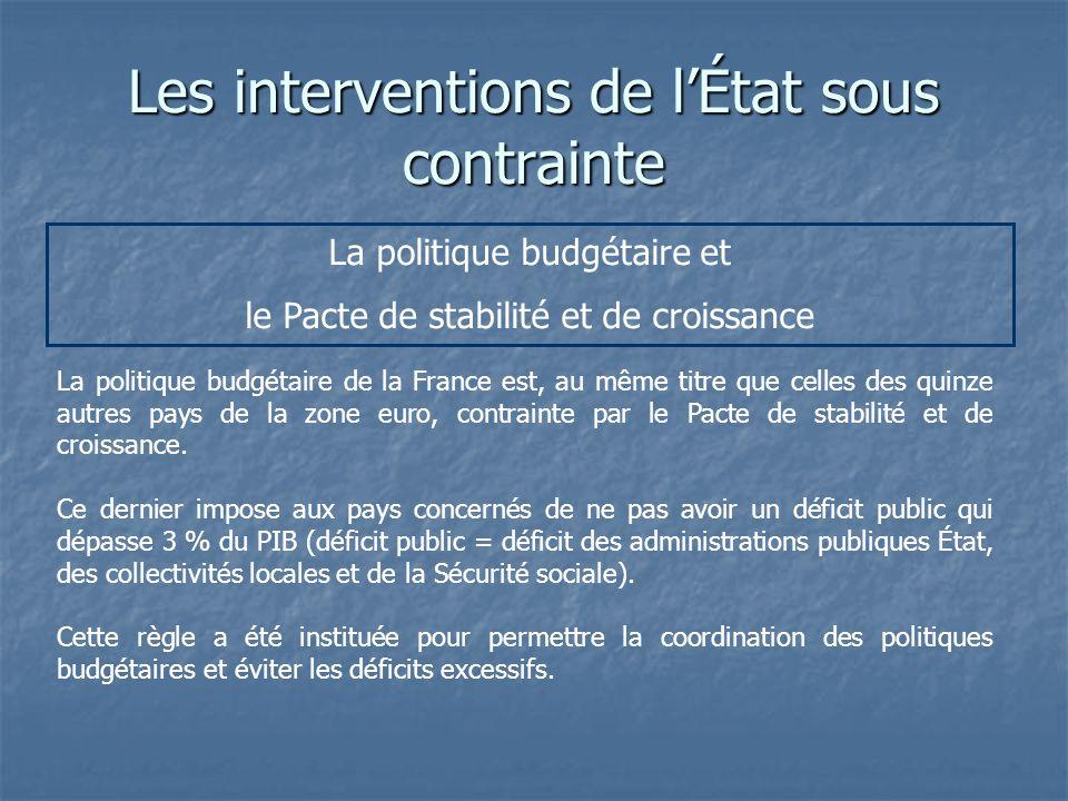 Les interventions de lÉtat sous contrainte La politique budgétaire et le Pacte de stabilité et de croissance La politique budgétaire de la France est,