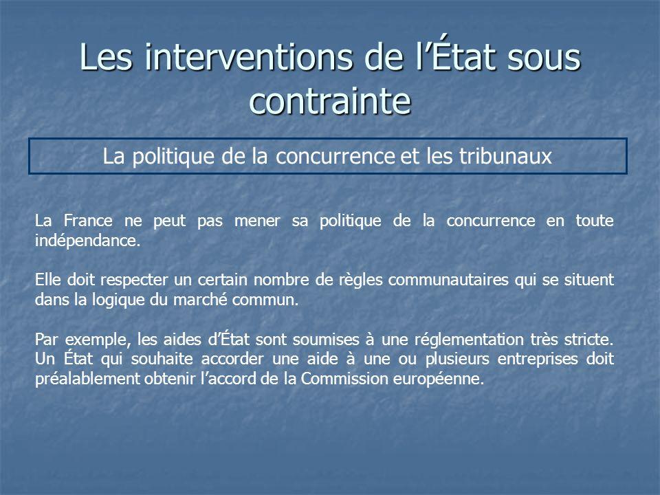 Les interventions de lÉtat sous contrainte La politique de la concurrence et les tribunaux La France ne peut pas mener sa politique de la concurrence