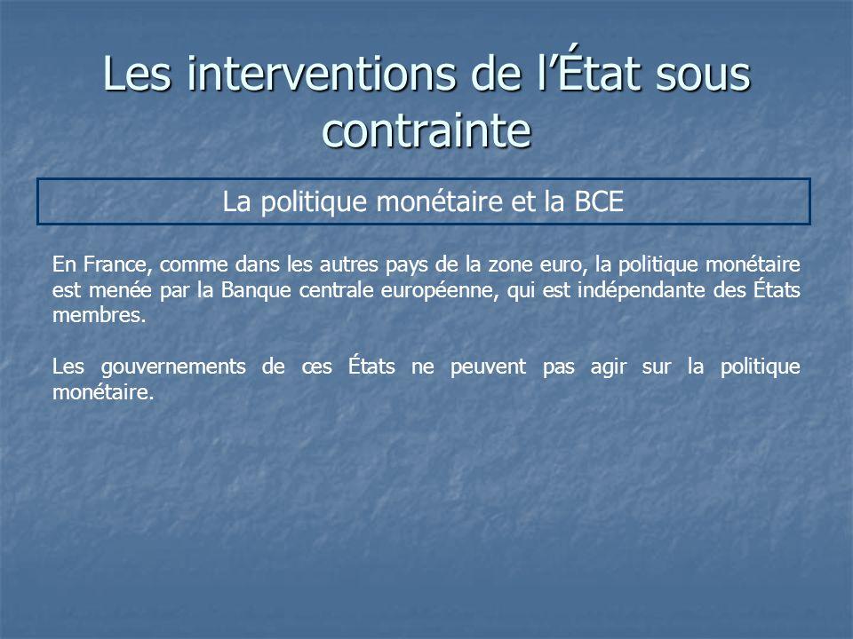 Les interventions de lÉtat sous contrainte La politique monétaire et la BCE En France, comme dans les autres pays de la zone euro, la politique monéta