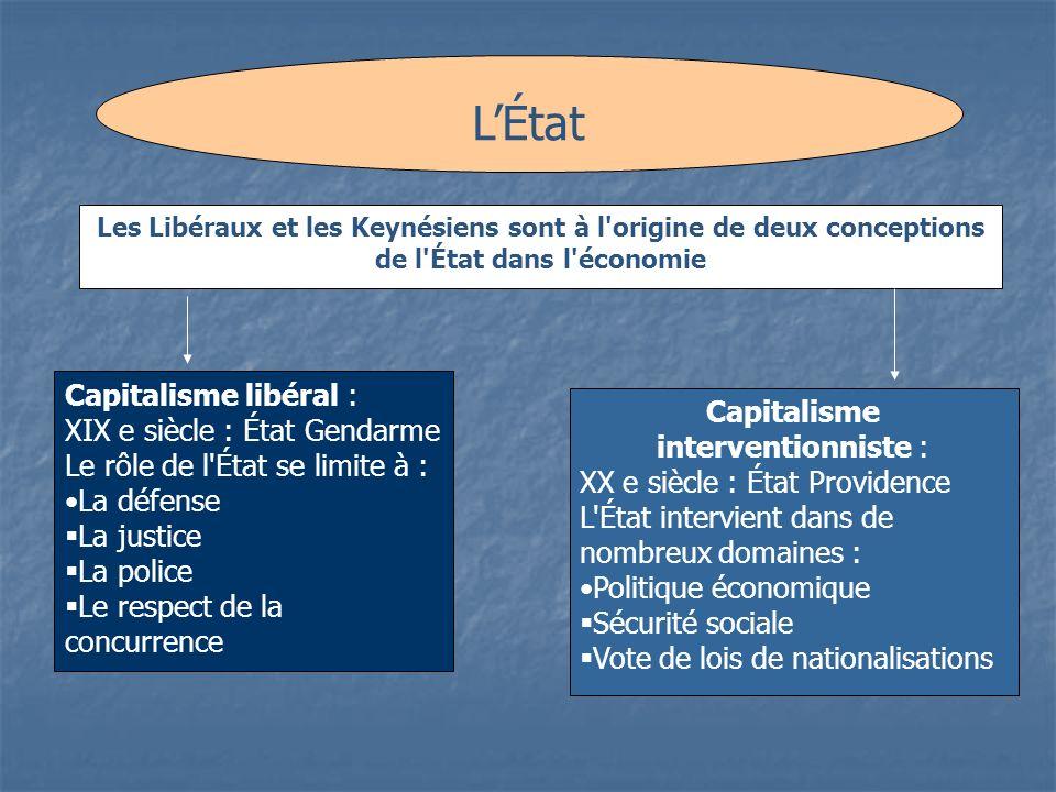 LÉtat Les Libéraux et les Keynésiens sont à l'origine de deux conceptions de l'État dans l'économie Capitalisme libéral : XIX e siècle : État Gendarme