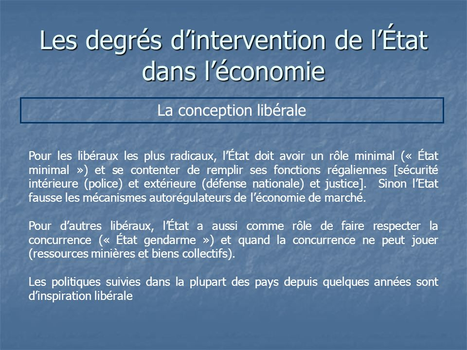 Les degrés dintervention de lÉtat dans léconomie La conception libérale Pour les libéraux les plus radicaux, lÉtat doit avoir un rôle minimal (« État