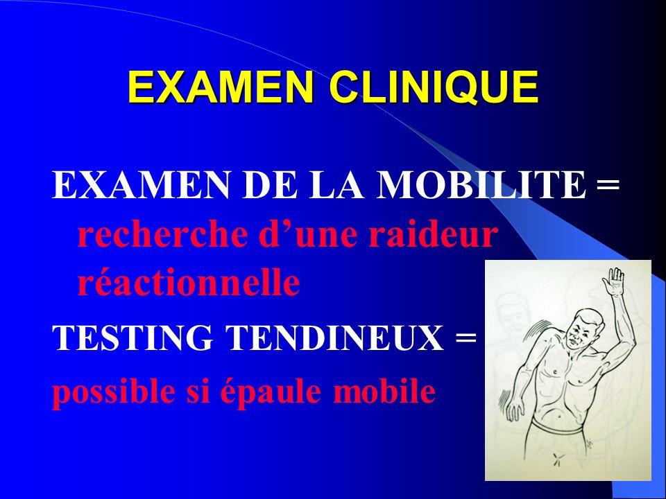 EXAMEN CLINIQUE EXAMEN DE LA MOBILITE = recherche dune raideur réactionnelle TESTING TENDINEUX = possible si épaule mobile