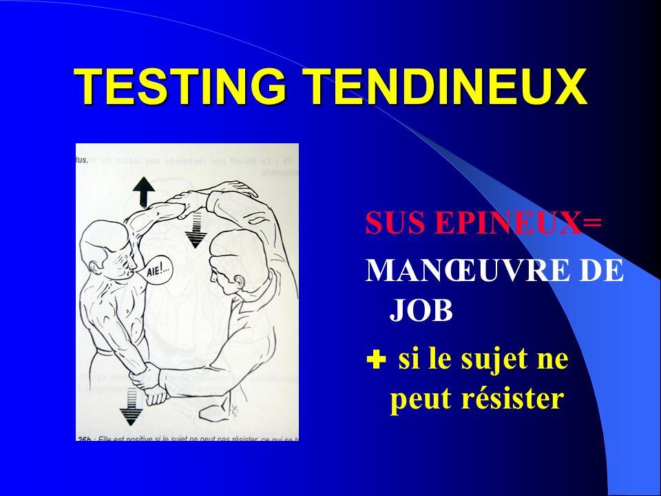 TESTING TENDINEUX SUS EPINEUX= MANŒUVRE DE JOB si le sujet ne peut résister