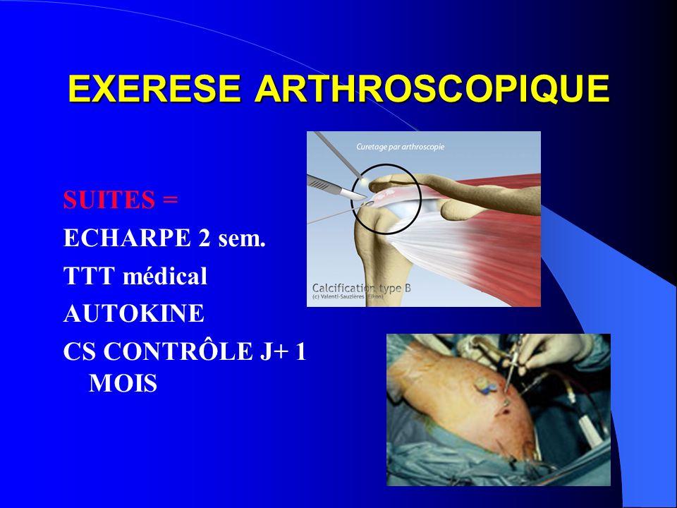EXERESE ARTHROSCOPIQUE SUITES = ECHARPE 2 sem. TTT médical AUTOKINE CS CONTRÔLE J+ 1 MOIS