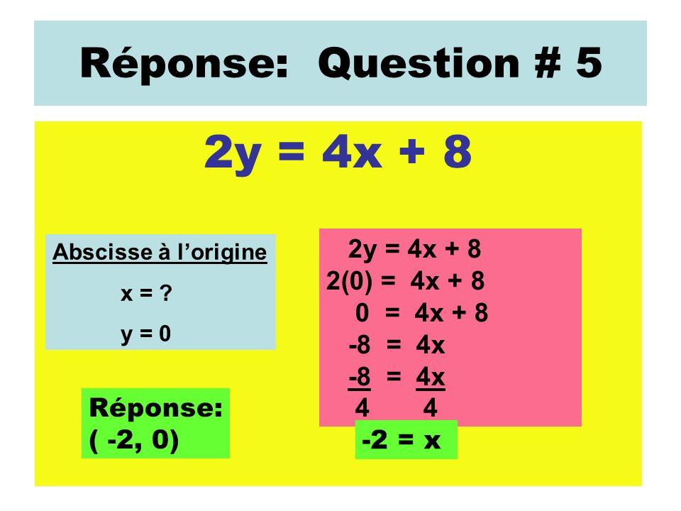Réponse: Question # 5 2y = 4x + 8 Abscisse à lorigine x = ? y = 0 2y = 4x + 8 2(0) = 4x + 8 0 = 4x + 8 -8 = 4x 4 -2 = x Réponse: ( -2, 0)