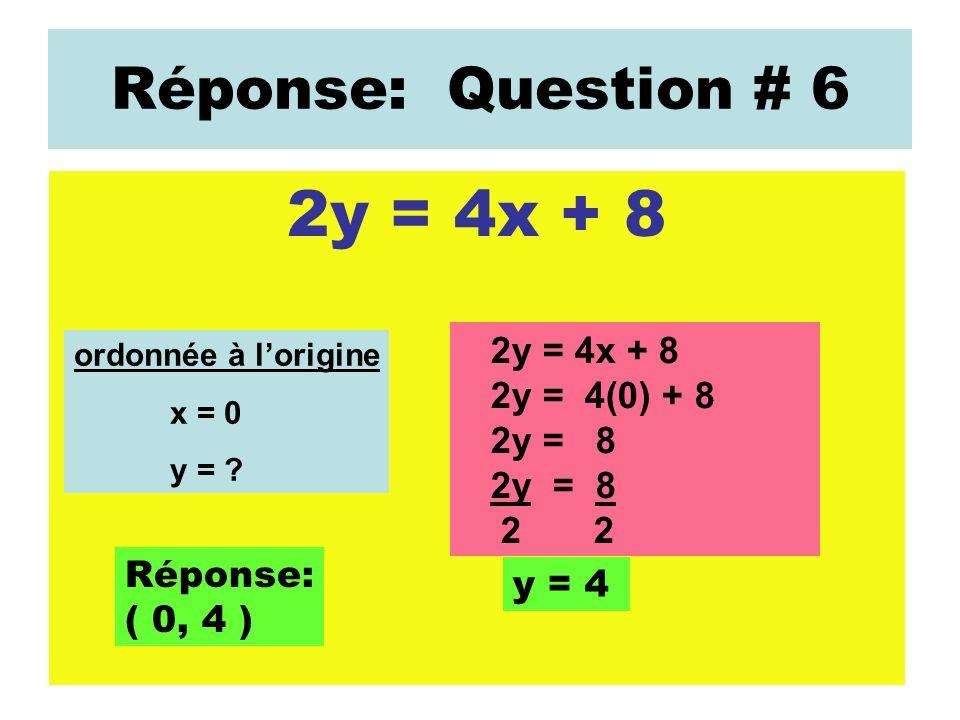 Réponse: Question # 6 2y = 4x + 8 ordonnée à lorigine x = 0 y = ? 2y = 4x + 8 2y = 4(0) + 8 2y = 8 2 2 y = 4 Réponse: ( 0, 4 )
