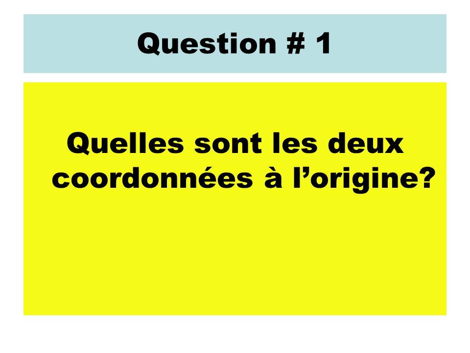 Question # 1 Quelles sont les deux coordonnées à lorigine?