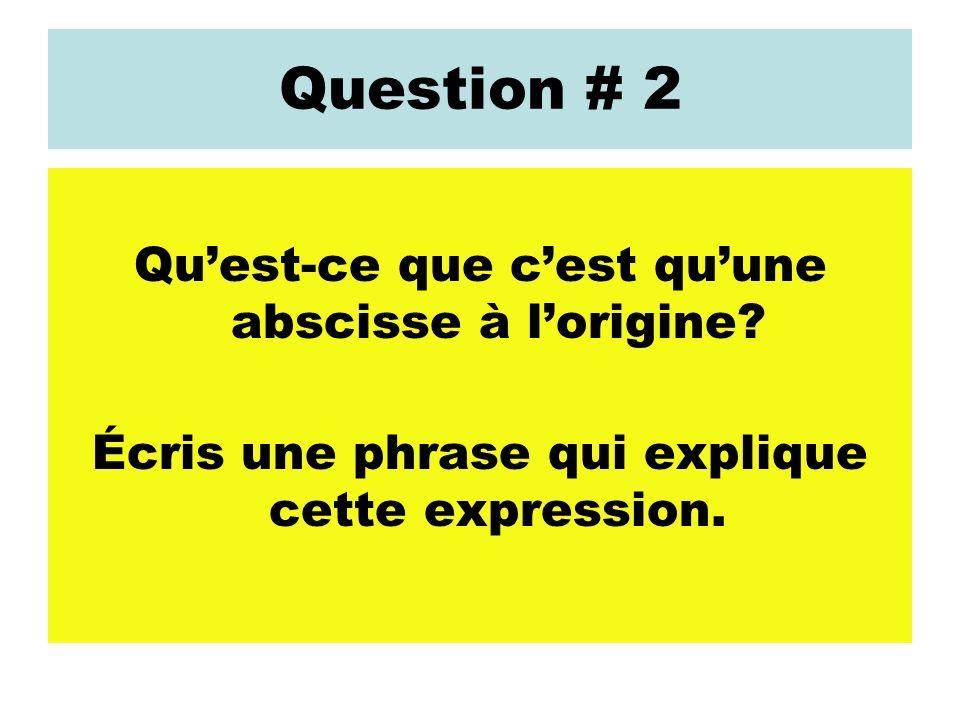 Question # 2 Quest-ce que cest quune abscisse à lorigine? Écris une phrase qui explique cette expression.