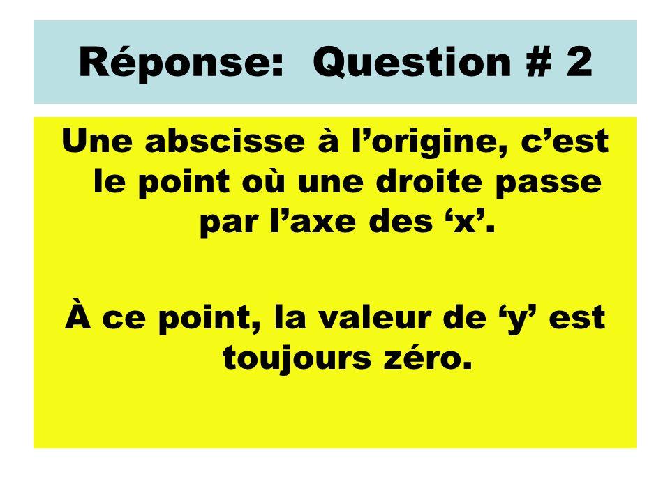 Réponse: Question # 2 Une abscisse à lorigine, cest le point où une droite passe par laxe des x. À ce point, la valeur de y est toujours zéro.