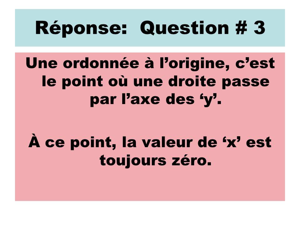Réponse: Question # 3 Une ordonnée à lorigine, cest le point où une droite passe par laxe des y. À ce point, la valeur de x est toujours zéro.