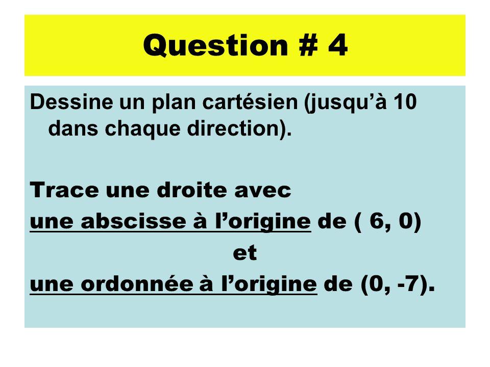 Question # 4 Dessine un plan cartésien (jusquà 10 dans chaque direction). Trace une droite avec une abscisse à lorigine de ( 6, 0) et une ordonnée à l