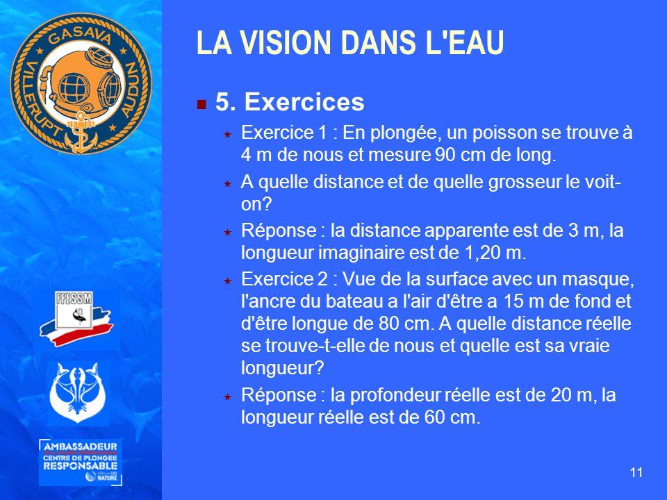 11 LA VISION DANS L'EAU 5. Exercices Exercice 1 : En plongée, un poisson se trouve à 4 m de nous et mesure 90 cm de long. A quelle distance et de quel